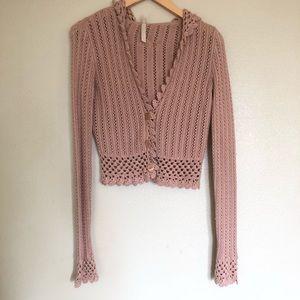 Lulu Pink Crochet Style Sweater Size L